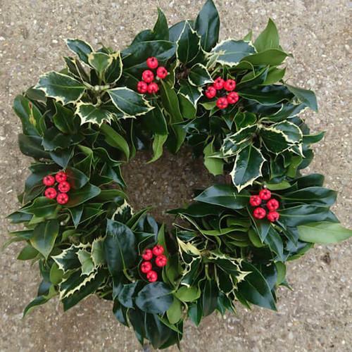 Handmade Holly Christmas Wreath - 10 Inches