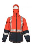 Elements Lightning Jacket, Front View, Flame Resistant Jacket, Orange Hi Vis Jacket, Built In Balaclava