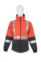 Elements Lightning Jacket, Front View, Flame Resistant Jacket, Orange Hi Vis Jacket, Hood Down