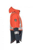 Elements Lightning Jacket, Side View, Flame Resistant Jacket, Orange Hi Vis Jacket, Built In Balaclava