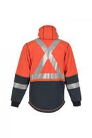 Elements Lightning Jacket, Back View, Flame Resistant Jacket, Orange Hi Vis Jacket, Built In Balaclava