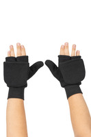 Flip-Top Mitten, Front View, Super Fleece FR Mittens, Flame Resistant Mittens, Finger Flap Down