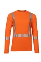 Pro Dry Long Sleeve Orange, Front View, Hi Vis Orange Long Sleeve FR, Flame Resistant Orange Hi Vis Shirt