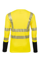 Pro Dry Long Sleeve Yellow, Back View, Hi Vis Yellow Long Sleeve FR, Flame Resistant Yellow Hi Vis Shirt