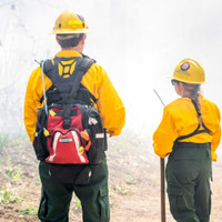 Firefly Pack, Front View, Wildland Fire Pack, Wildland Firefighting Backpack, Lifestyle with Radio Harness