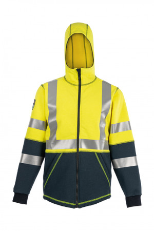 DragonWear, Elements Nova Jacket, Front View, Hood-up, Outerwear, NFPA 70E, NFPA 2112, ANSI 107