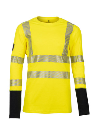 Pro Dry Long Sleeve Yellow, Front View, Hi Vis Yellow Long Sleeve FR, Flame Resistant Yellow Hi Vis Shirt