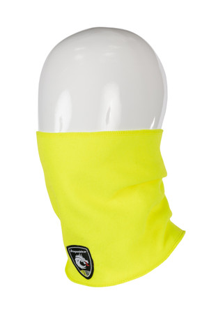 Hi-Vis Neck Gaiter, Angled View,  FR Neck Gaiter, Flame Resistant Neck Gaiter, Hi-Vis Yellow