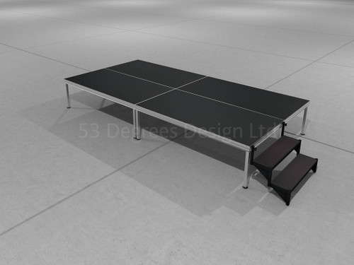Visual representation of Alu Rapid, 4m x 2m portable stage with steps.