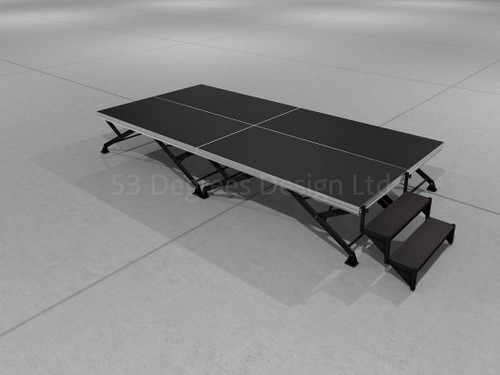 Visual representation of Alu Combi, 4m x 2m portable stage with steps.