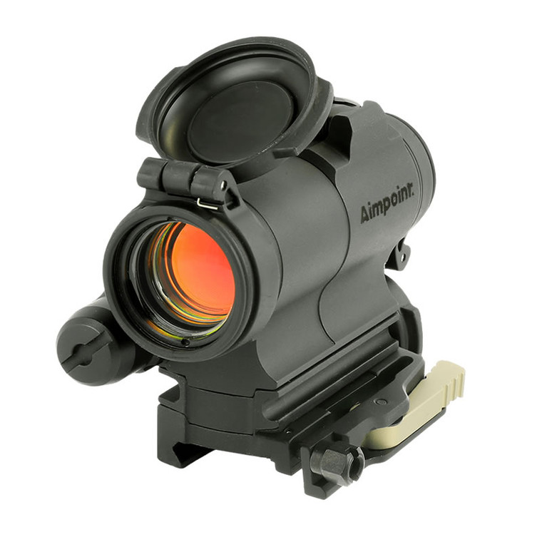 The CompM5s is a rugged, reliable red dot sight that uses a AAA battery.