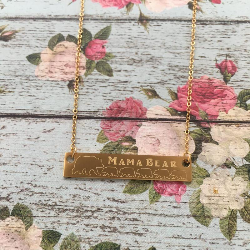 Pink Box Horizontal Bar Mama Necklace Mama Bear of 2 Gold