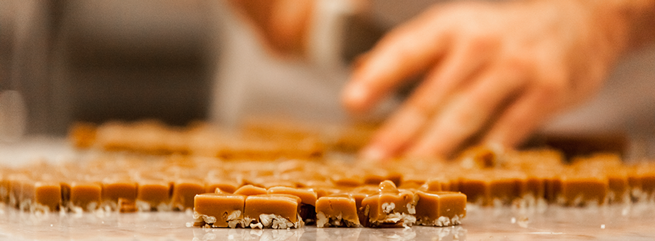 Fresh Pecan toffee before getting dipped in chocolate