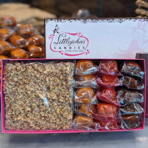 Two 5x5 Pieces of our World Famous English Toffee and 15 of our Marshmallow Delights in our elegant Keepsake Gift box