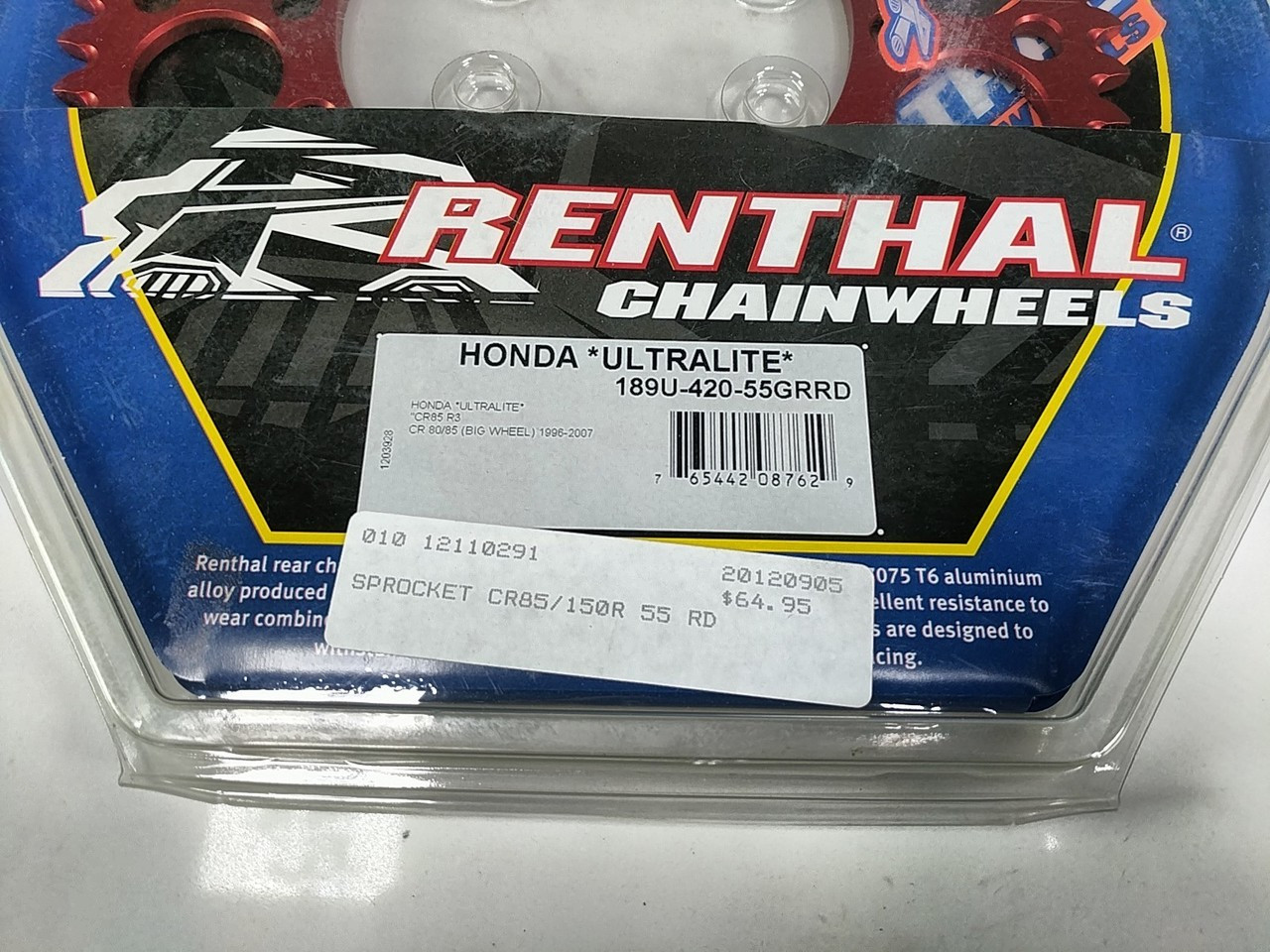 Renthal Rear Sprocket 55T Ultralight 189U-420-55GRRD Honda CR85 CR80 1996 2007