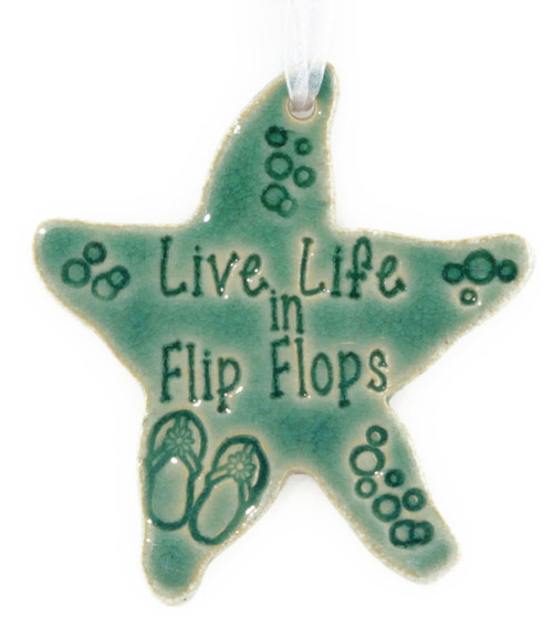 Life Life in Flip Flops Handmade Starfish ornament in Green