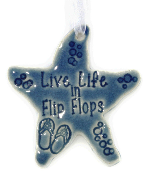 Life Life in Flip Flops Handmade Starfish ornament in Blue