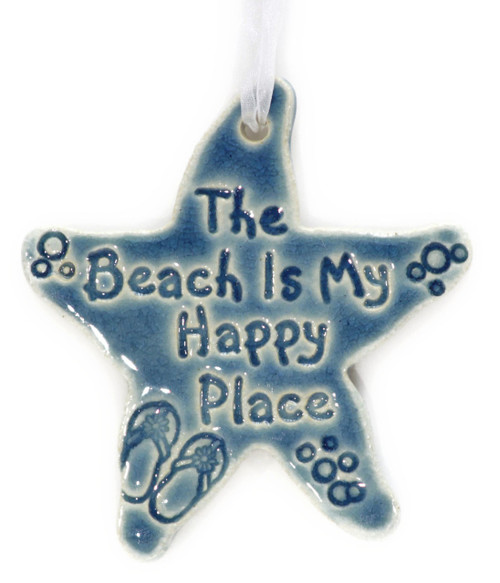 The Beach is My Happy Place handmade ceramic starfish in Blue.