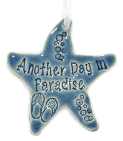 Beach Buddies for Life handmade ceramic starfish ornament in blue.
