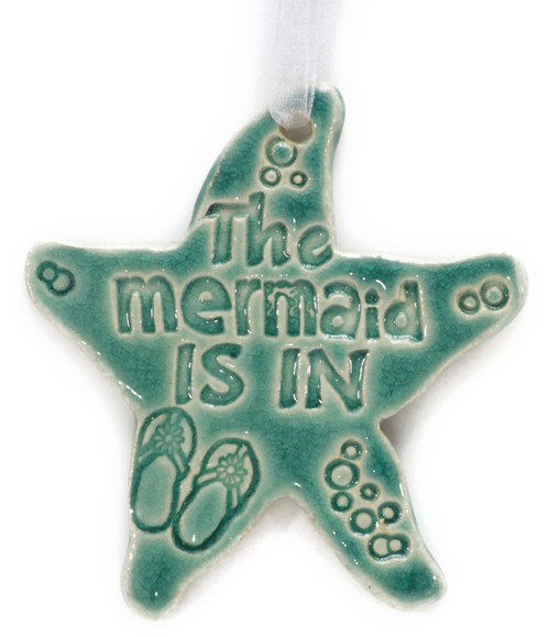 """The Mermaid Is In. Handmade Ceramic Starfish Available in Blue & Green. Measures 4""""x4""""."""