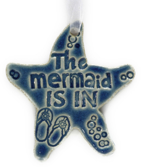 "The Mermaid Is In. Handmade Ceramic Starfish Available in Blue & Green. Measures 4""x4""."