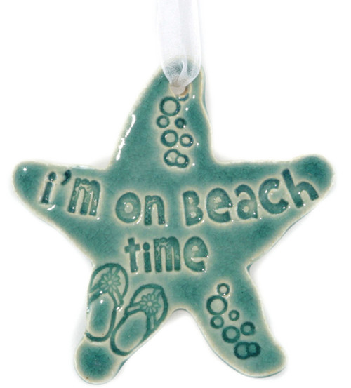 """I'm On Island Time. Handmade Ceramic Starfish Available In Blue & Green. Measures 4""""x4""""."""