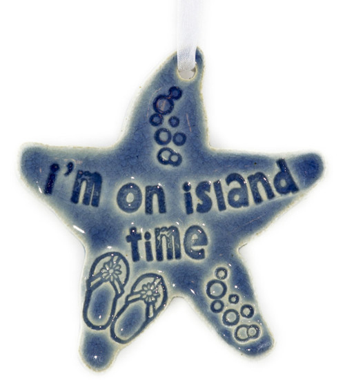 "I'm On Island Time. Handmade Ceramic Starfish Available In Blue & Green. Measures 4""x4""."