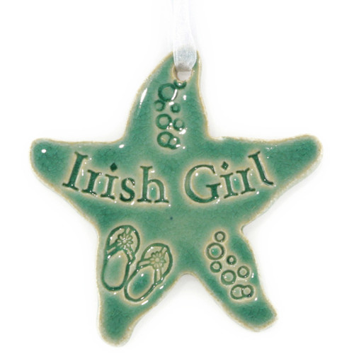 Irish Girl Starfish. Handmade Ceramic Ornament in Green.