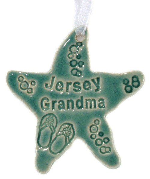 Jersey Grandma Starfish Ornament in Green