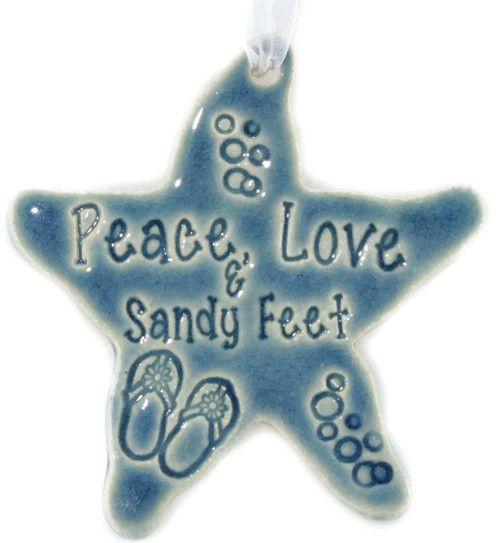 Peace Love & Sandy Feet handmade ceramic starfish in blue.