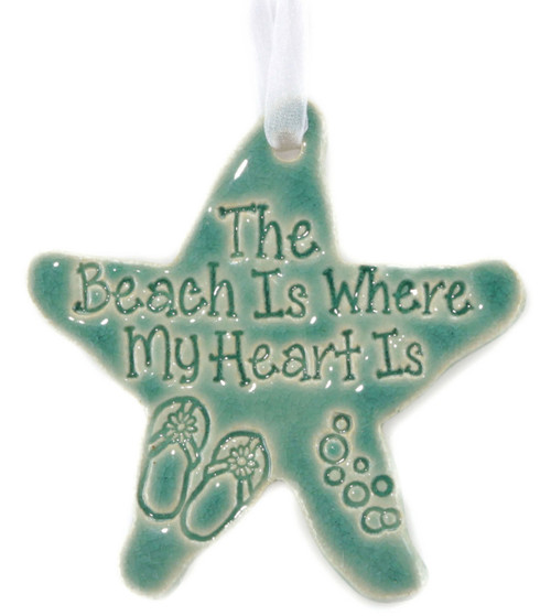The Beach is Where My Heart Is handmade ceramic starfish ornament in green.