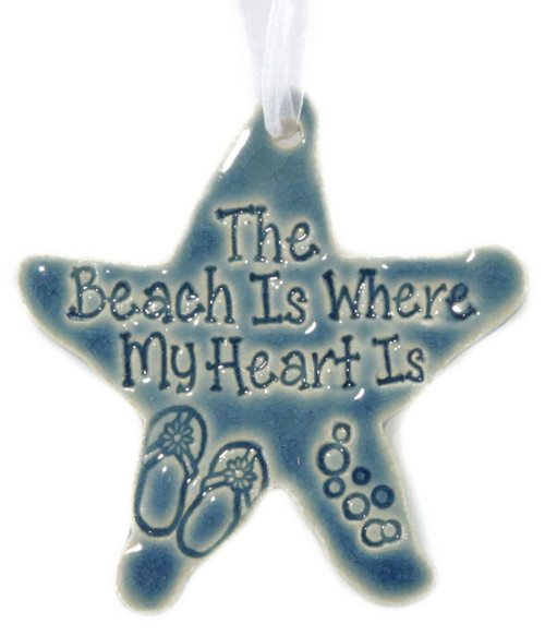 The Beach is Where My Heart Is handmade ceramic starfish ornament in blue.