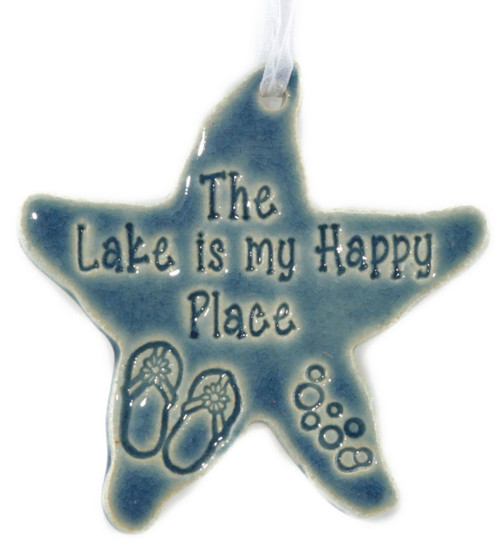 "The Lake Is My Happy Place handmade ceramic starfish ornament in blue.  Measures 4""x4""."