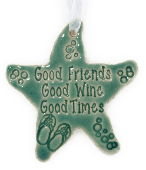 Beach Buddies for Life handmade ceramic starfish ornament in green.