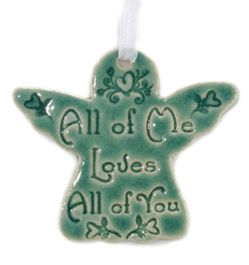 All of Me Loves All of You. Handmade ceramic angel ornament available in blue and green