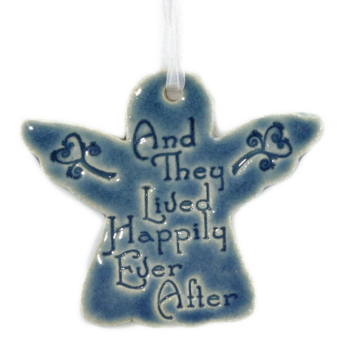 And They Lived Happily Ever After. Handmade ceramic angel ornament available in blue and green.