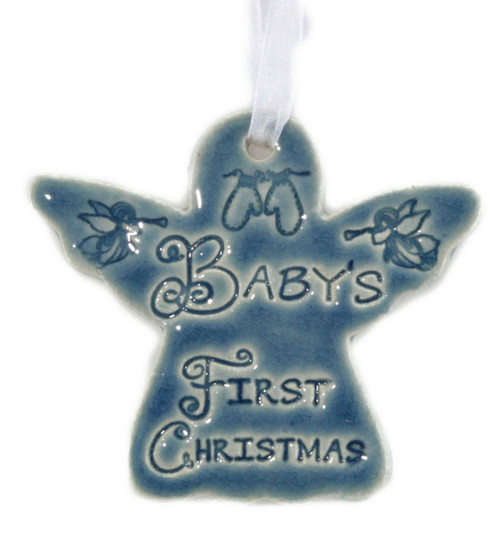 Baby's First Christmas. Handmade ceramic angel ornament available in blue and green.