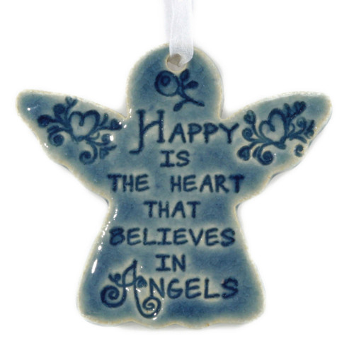 Happy Is The Heart That Believes In Angels. Handmade ceramic angel ornament available in blue and green.