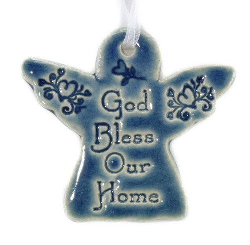 God Bless Our Home. Handmade ceramic angel ornament available in blue and green