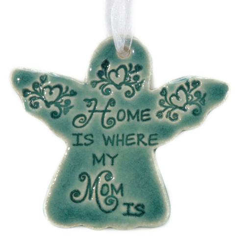 Home Is Where My Mom Is. Handmade ceramic angel ornament available in blue and green.