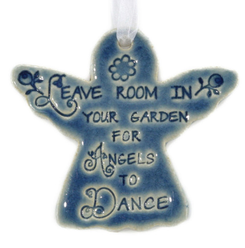 "Leave Room In Your Garden For Angels To Dance. Handmade ceramic angel ornament available in blue and green. Measures 4""x4""."