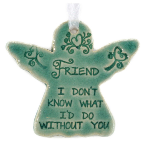 "Friend, I Don't Know What I Would Do Without You. Handmade ceramic starfish available in blue and green. Measures 4""x4""."