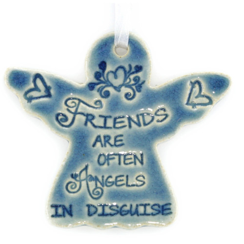 "Friends Are Often Angels In Disguise. Handmade ceramic starfish available in blue and green. Measures 4""x4""."
