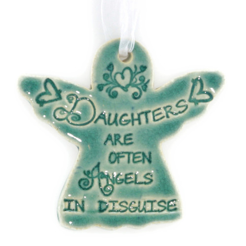 "Daughters Are Often Angels In Disguise. Handmade ceramic starfish available in blue and green. Measures 4""x4""."