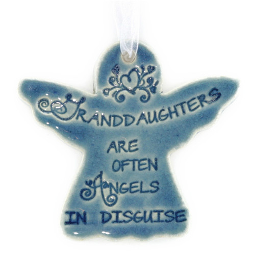 "Granddaughters Are Often Angels In Disguise. Handmade ceramic starfish available in blue and green. Measures 4""x4""."