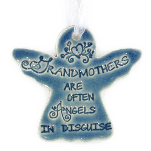 "Grandmothers Are Often Angels In Disguise. Handmade ceramic starfish available in blue and green. Measures 4""x4""."