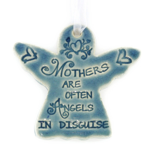 "Mothers Are Often Angels In Disguise. Handmade ceramic starfish available in blue and green. Measures 4""x4""."