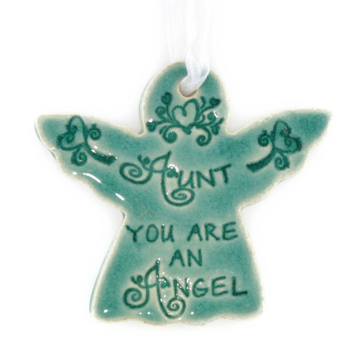 "Aunt You Are An Angel. Handmade ceramic starfish available in blue and green. Measures 4""x4""."