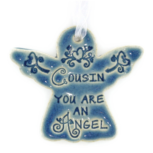 "Cousin You Are An Angel. Handmade ceramic starfish available in blue and green. Measures 4""x4""."