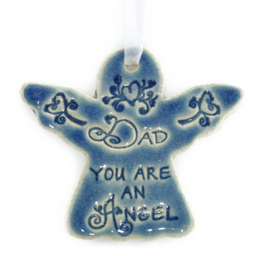 "Dad You Are An Angel. Handmade ceramic starfish available in blue and green. Measures 4""x4""."